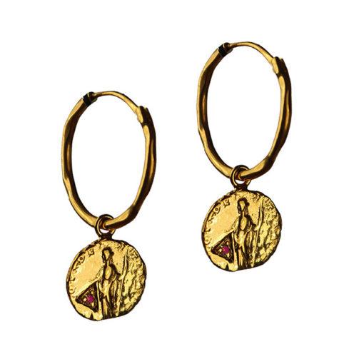 garnet coin hoop earrings