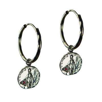 garnet coin hoop earrings silver