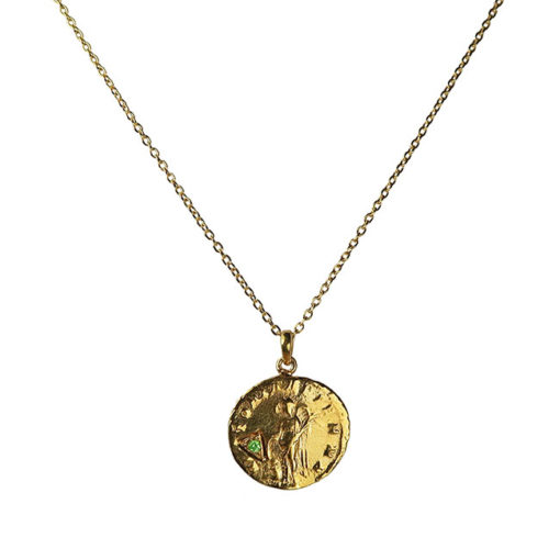 green garnet antique coin pendant necklace