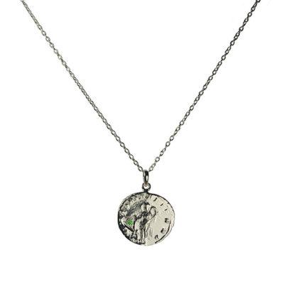 green garnet antique coin pendant necklace silver