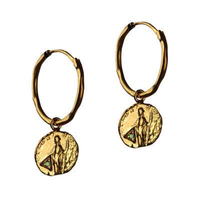 green garnet coin hoop earrings