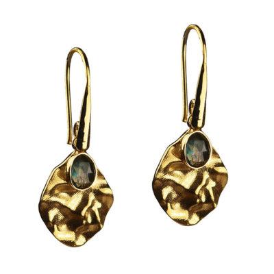 labradorite leaf drop earrings