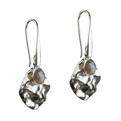 labradorite leaf drop earrings silver