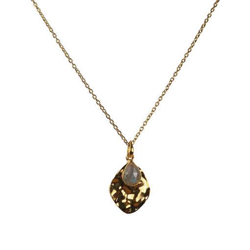 labradorite leaf pendant necklace
