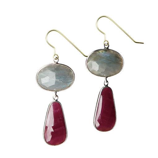 labradorite ruby double drop earrings