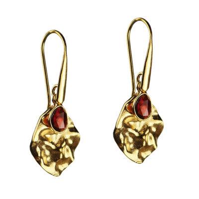 rhodonite leaf drop earrings