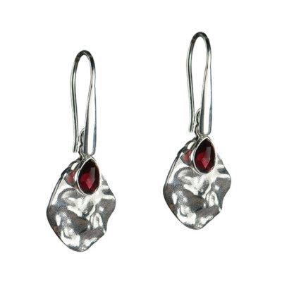 rhodonite leaf drop earrings silver