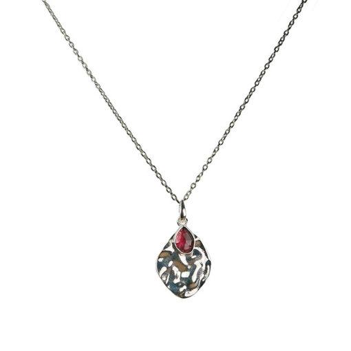 rhodonite leaf pendant necklace silver