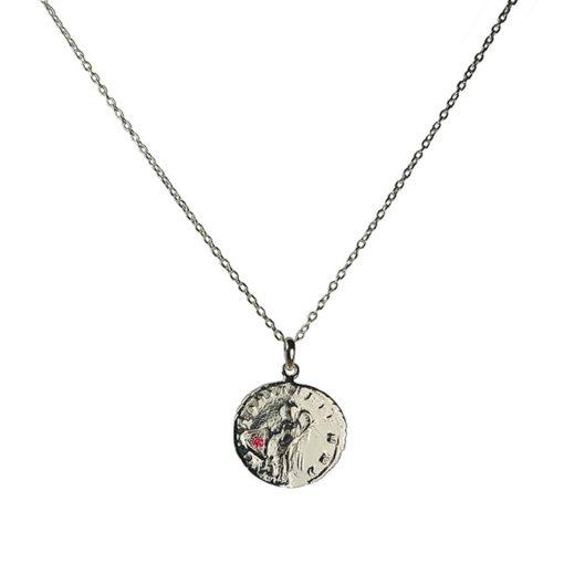 ruby antique coin pendant necklace silver