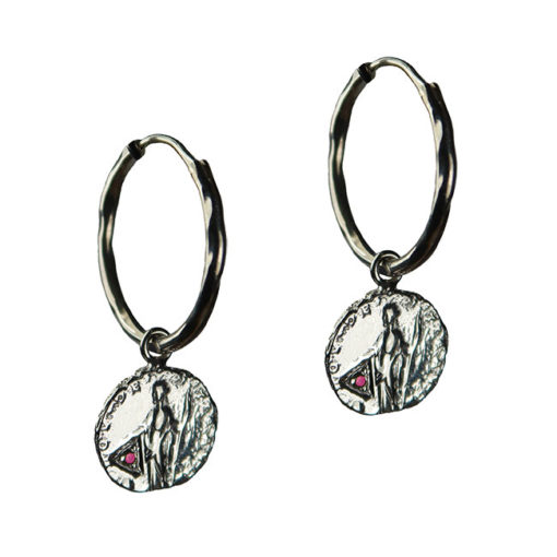 ruby coin hoop earrings silver