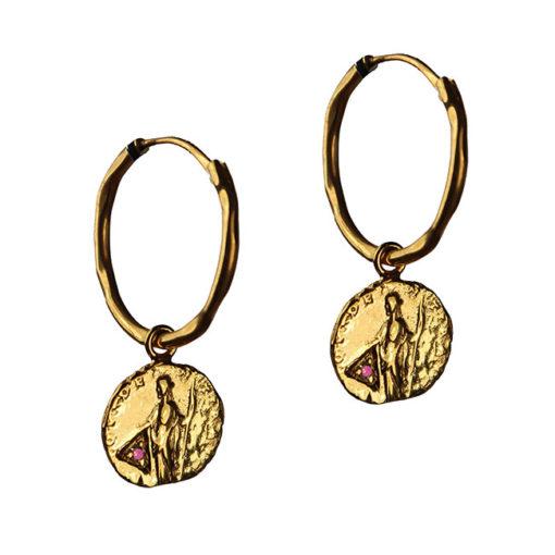 ruby coin hoop earrings