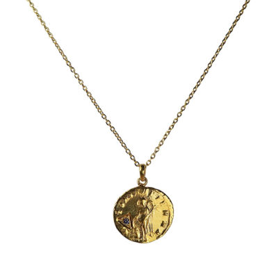 sapphire antique coin pendant necklace