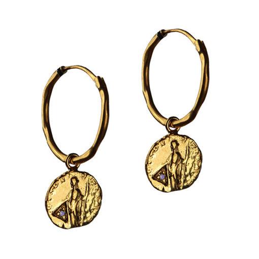 sapphire coin hoop earrings