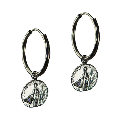 sapphire coin hoop earrings silver
